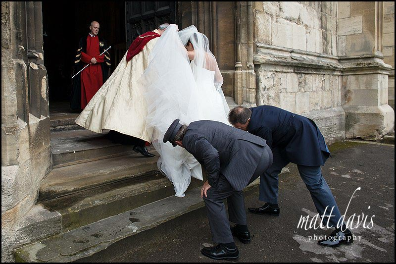 bride arriving at Gloucester Cathedral with father