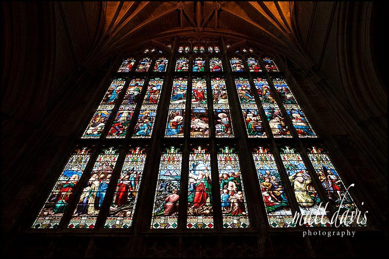 the main stained glass window at Gloucester Cathedral