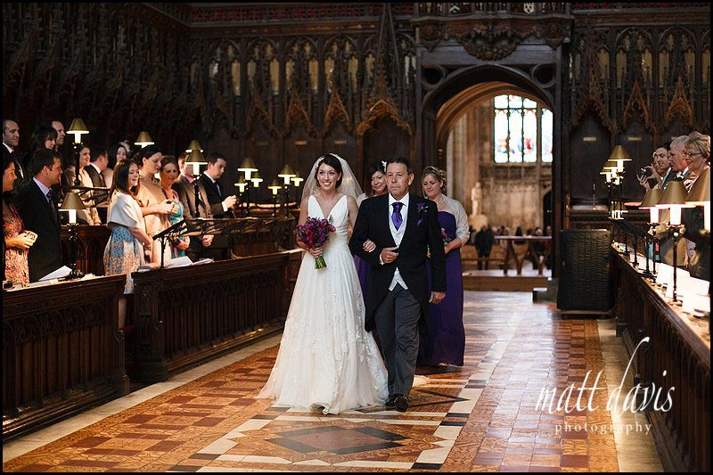 brides arrival at wedding at Gloucester Cathedral