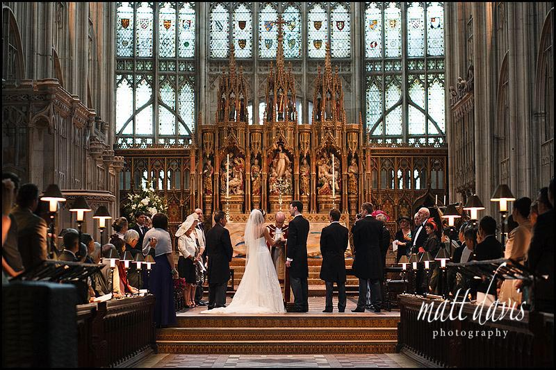 wedding ceremony at Gloucester Cathedral inside