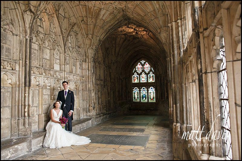 Wedding photos at Gloucester Cathedral - Ben & Hannah