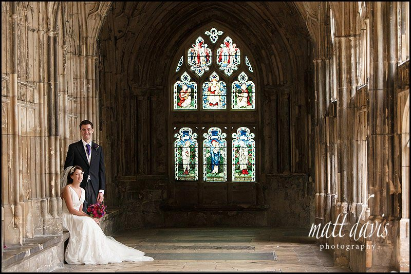 Wedding photos at Gloucester Cathedral - Ben and Hannah