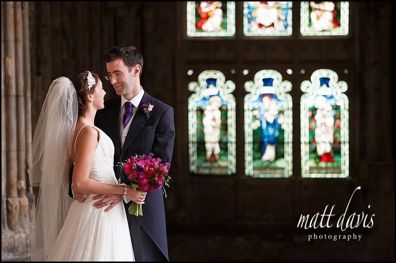 Wedding photos at Gloucester Cathedral Ben & Hannah