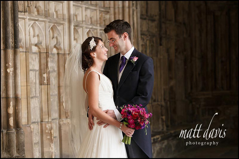 Wedding photos at Gloucester Cathedral of Ben & Hannah