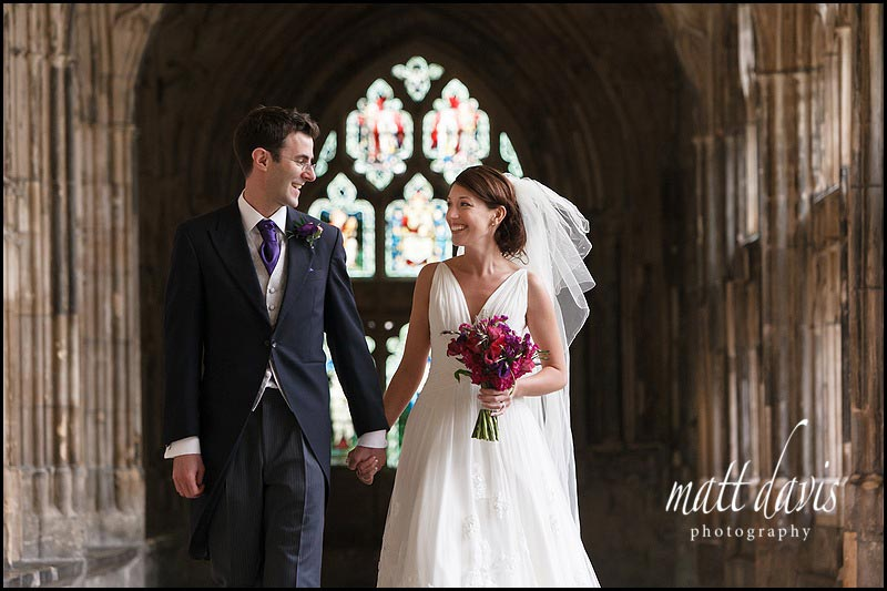 Wedding photos at Gloucester Cathedral Ben Markham & Hannah Parks