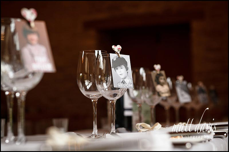 Wedding table decorations at Kingscote Barn