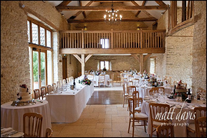 Wedding breakfast inside at Kingscote Barn