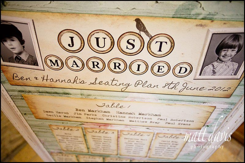 Rustic vintage wedding table plan at Kingscote Barn