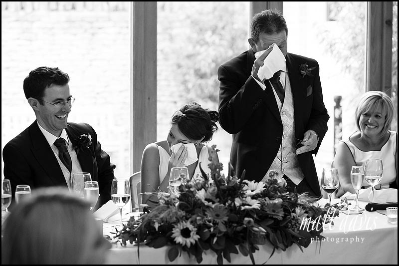 amazing photo of wedding speeches at Kingscote Barn