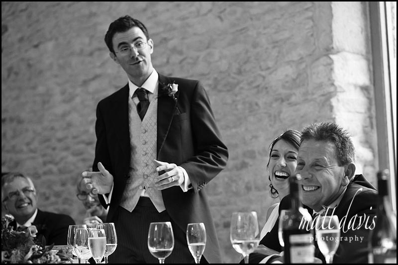 Grooms wedding speech at Kingscote Barn