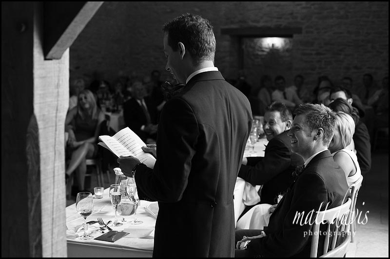 Best mans wedding speech at Kingscote Barn