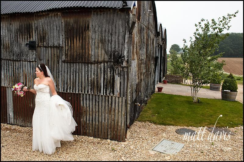 bride hiding at Stone Barn wedding