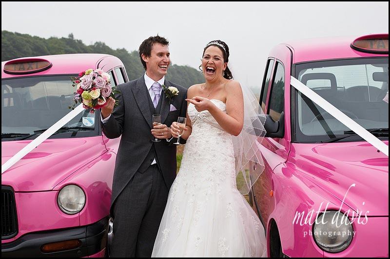 Pink wedding cabs