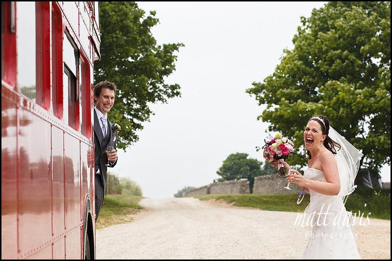 Stone Barn wedding photos with red bus