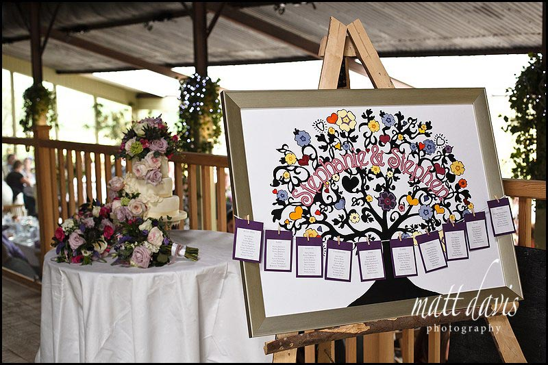 table plan decorations at Stone Barn wedding