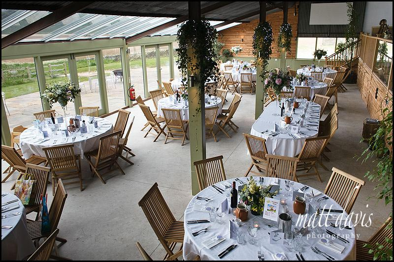 table layout inside at Stone Barn wedding