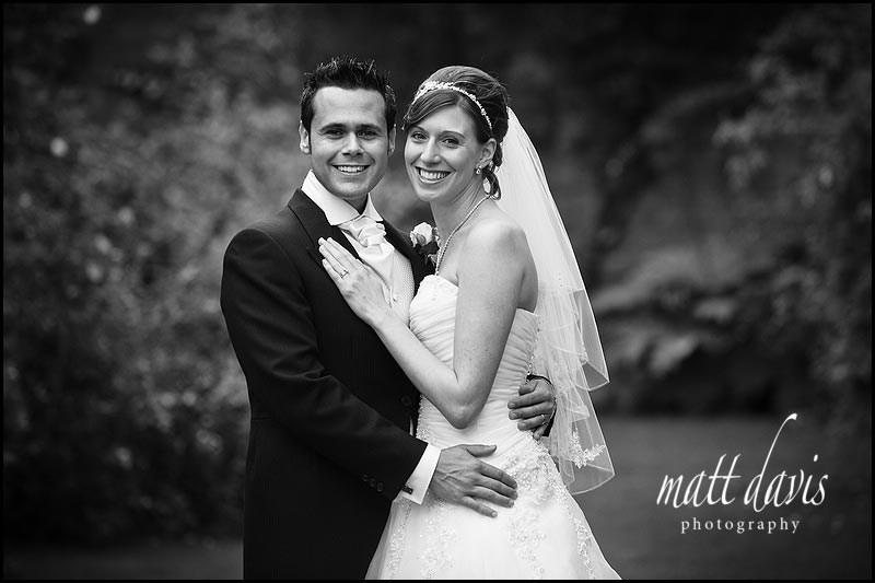 wedding photo of bride and groom in Tithe Barn at Sudeley Castle