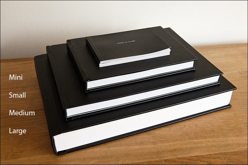 Wedding album options - range of sizes