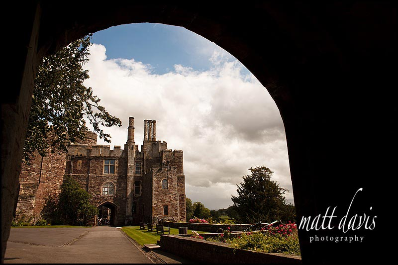 Berkeley Castle photographed through an archway