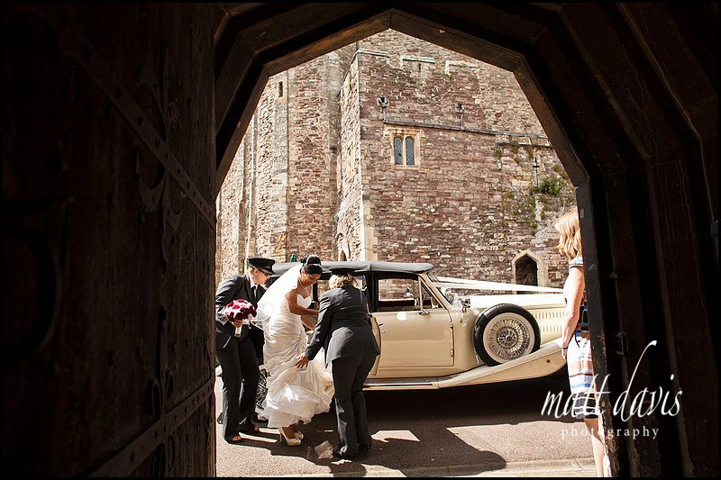 Brides arrival for wedding at Berkeley Castle