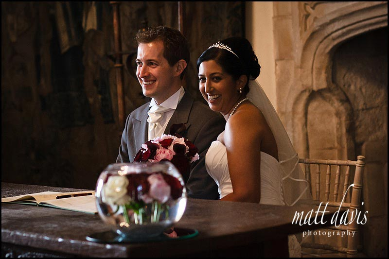 Married couple photo during civil ceremony at Berkeley Castle