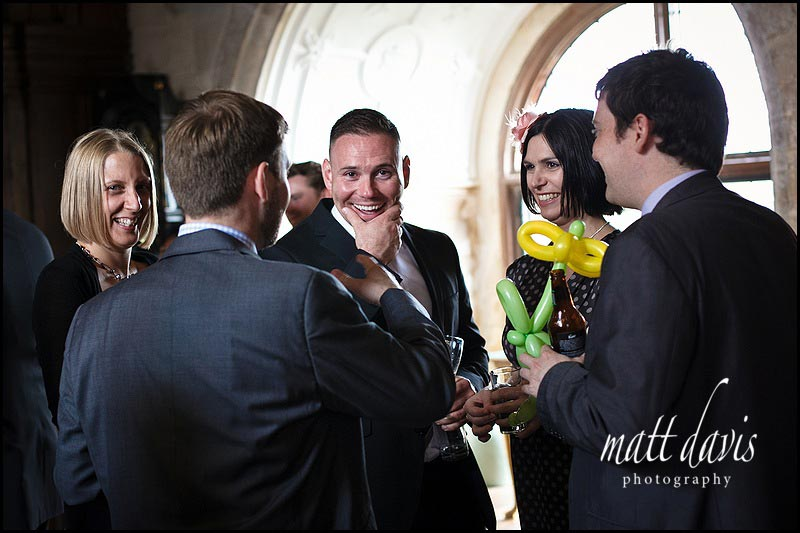 wedding guests inside Berkeley Castle