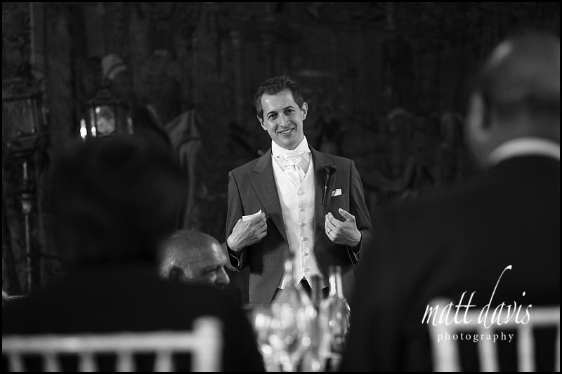 Grooms wedding speech at Berkeley Castle