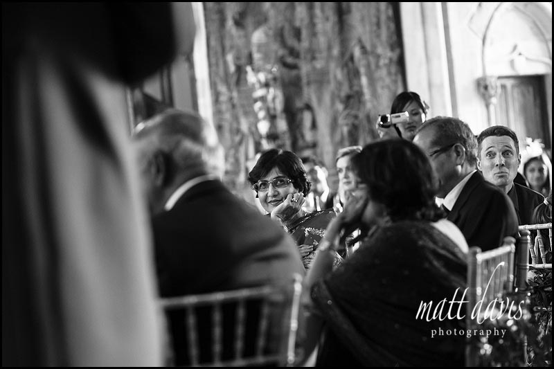 Mother of the bride watching wedding speeches