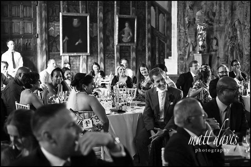 Inside Berkeley Castle during wedding speeches
