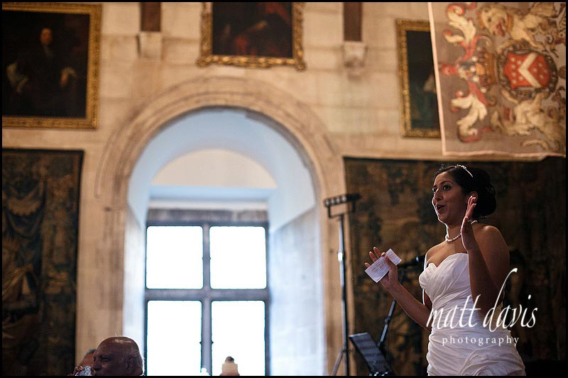 Brides wedding speech at Berkeley Castle Gloucestershire