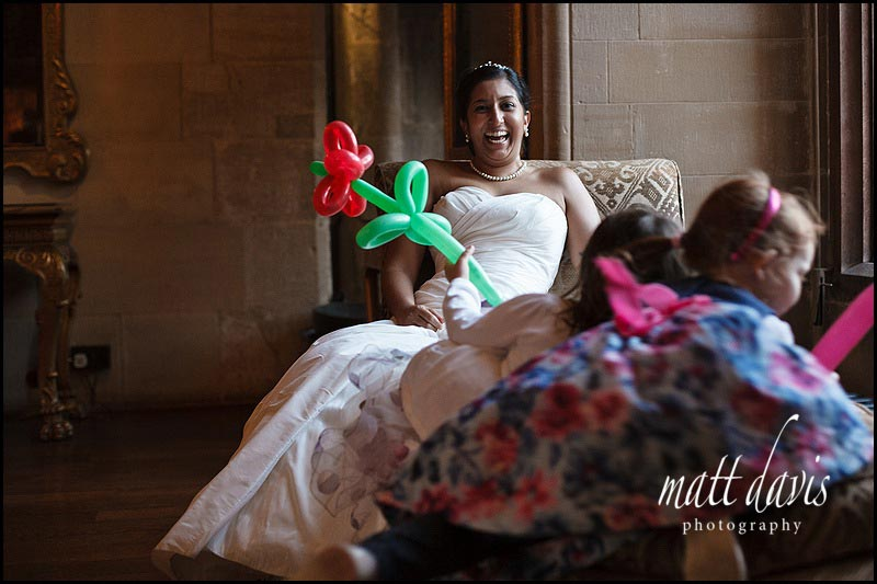 documentary wedding photo inside Berkely Castle