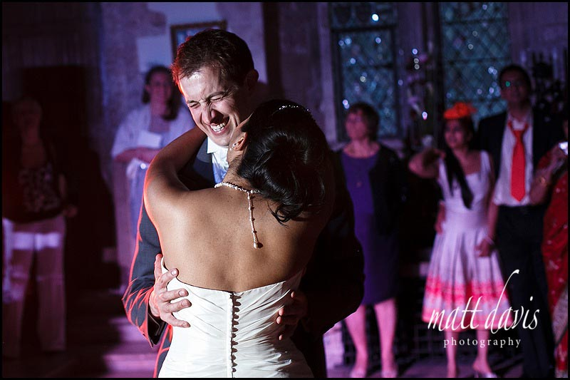 Funny first dance photo at wedding in Gloucestershire