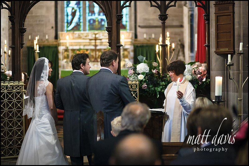 Wedding ceremony at Eastnor Church