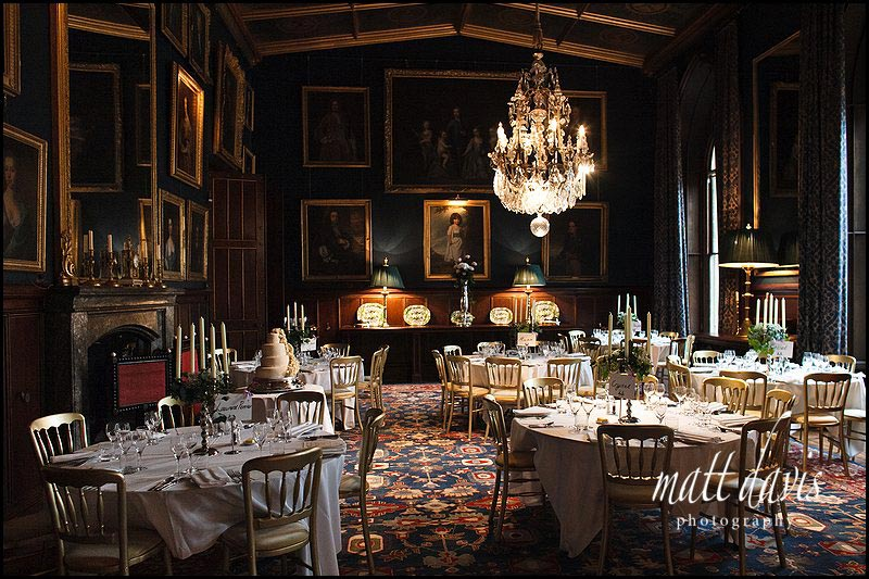 Inside Eastnor Castle wedding breakfast room