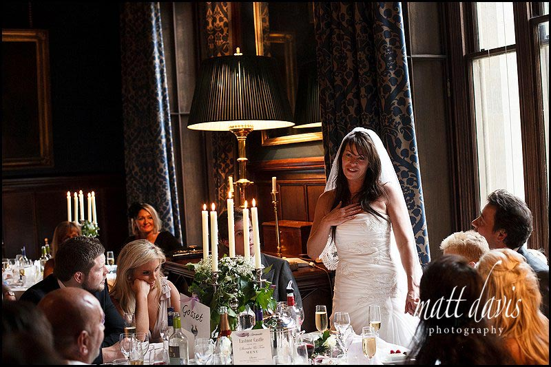 wedding speeches by the bride at Eastnor Castle
