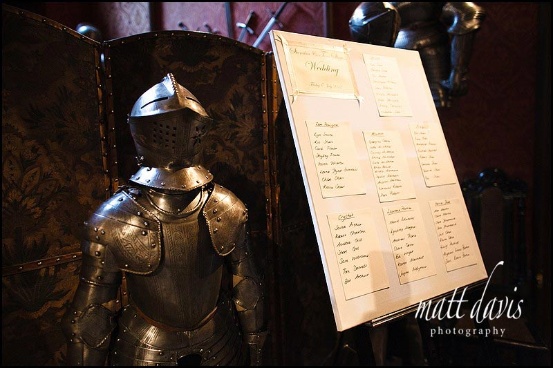 Unique wedding table plan in Castle