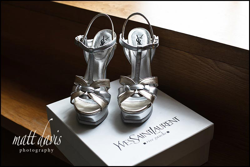 Yves Saint Laurent silver wedding shoes