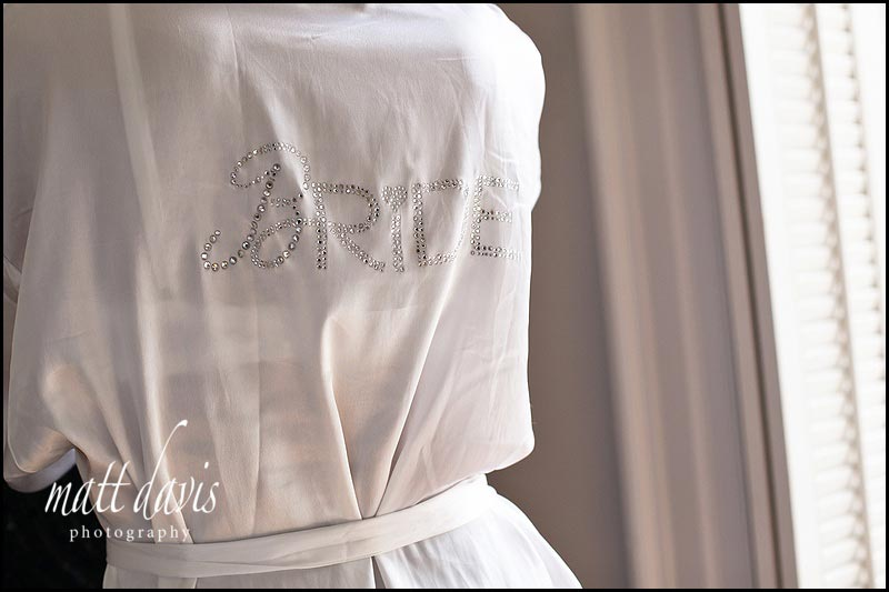dressing gown with Bride writing on