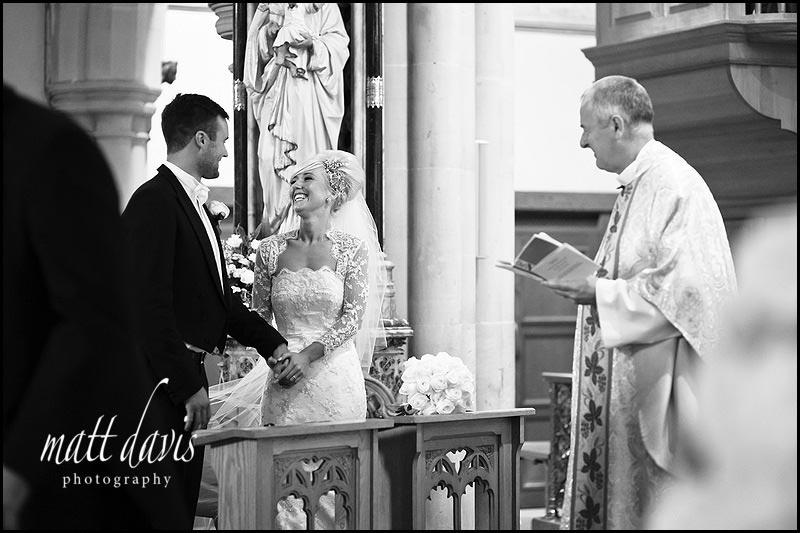 wedding couple at St Gregory's Church, Cheltenham, Gloucestershire