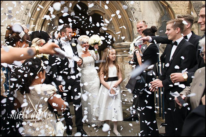 Confetti photo at St Gregory's Church, Cheltenham