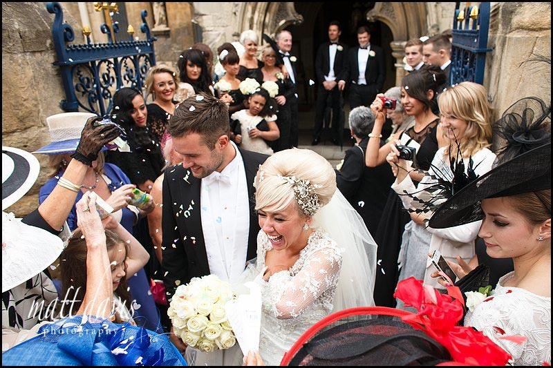 Confetti down the brides dress