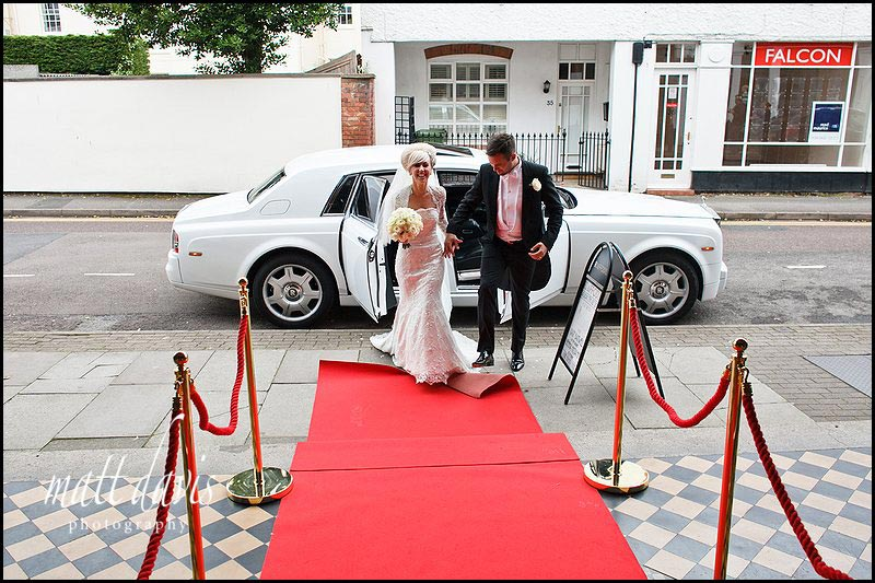 wedding couple arriving at The Daffodil, Cheltenham on red carpet