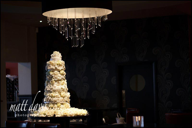 A very tall wedding cake