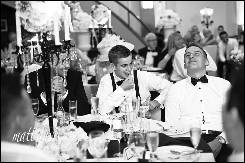 Guests laughing during Wedding speeches at the daffodil Cheltenham