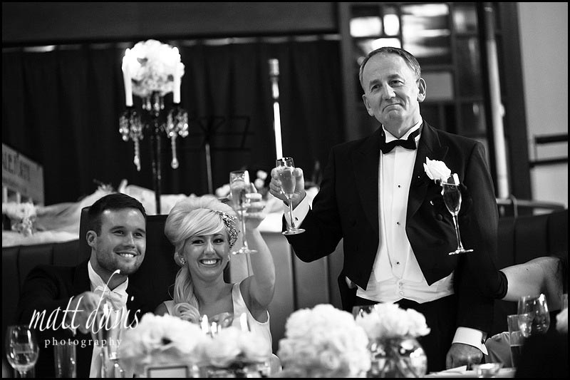 Black and white photos of wedding speeches at the daffodil Cheltenham