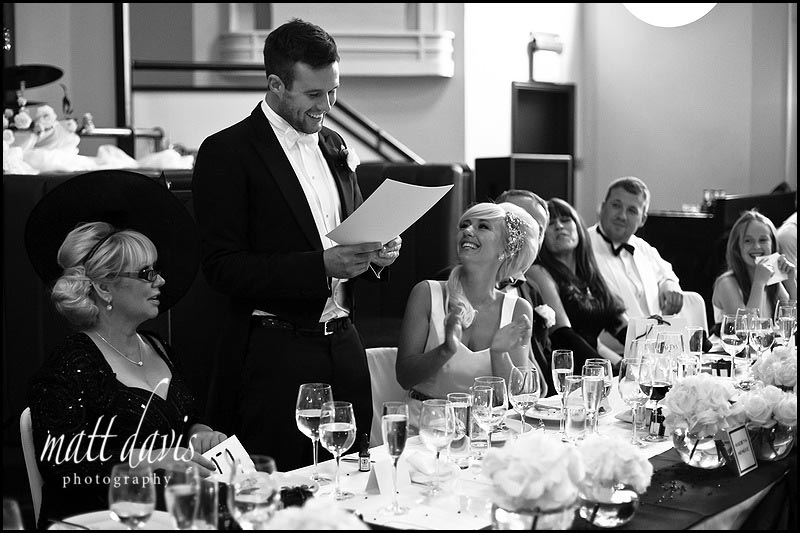 Black and white photos of grooms wedding speech at The Daffodil Cheltenham