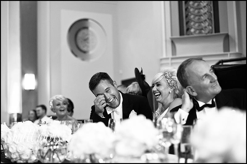 black and white photo of wedding speech by Gloucestershire wedding photographer