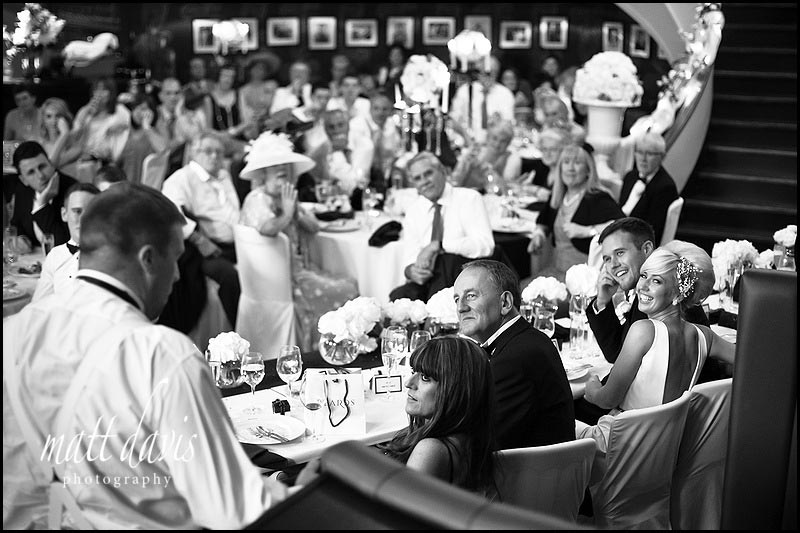 black and white photo of best mans wedding speech