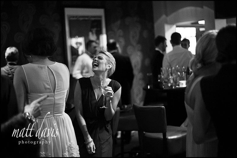 Wedding guests during the evening wedding reception at The Daffodil, Cheltenham