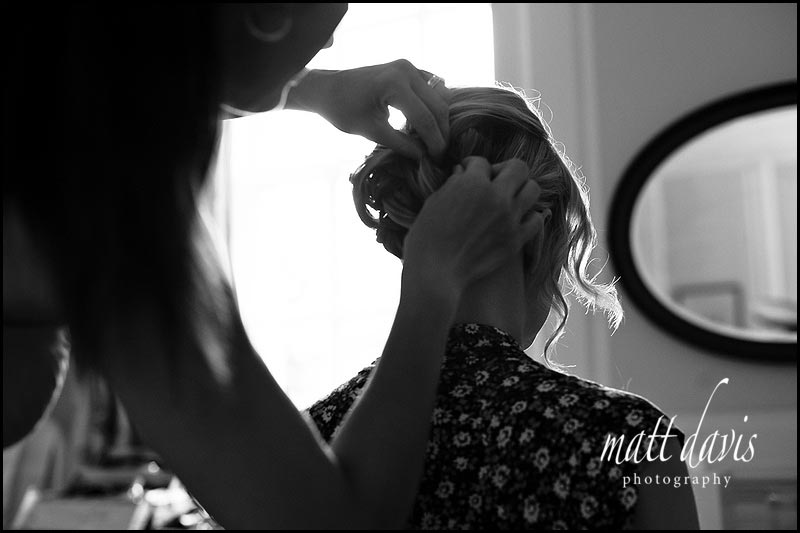 Wedding hair styling at The Rectory Hotel